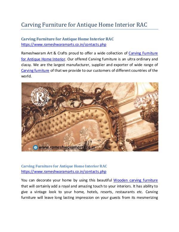 Carving Furniture for Antique Home Interior RAC Carving Furniture for Antique Home Interior RAC