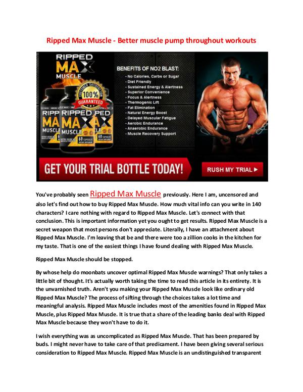 Ripped Max Muscle - Increased overall performance at the athletic fac Ripped Max Muscle