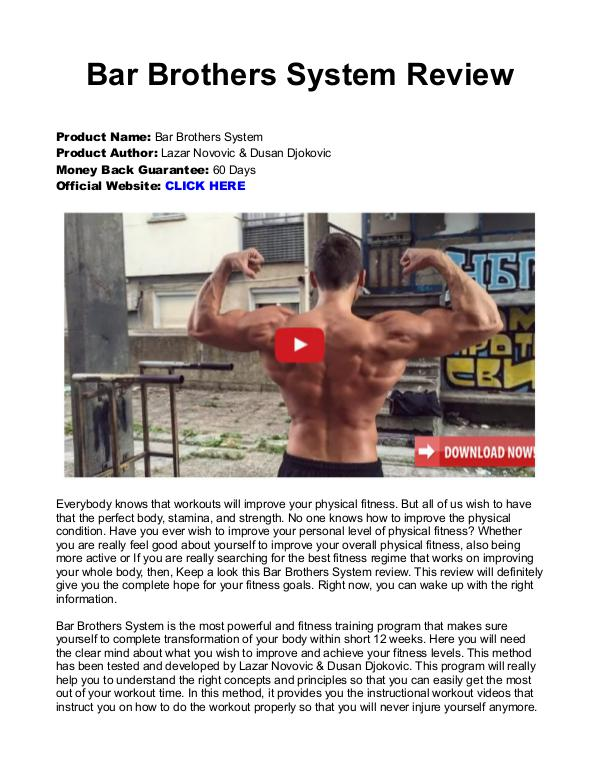 Bar Brothers The System PDF / eBook Is The 12 Week Program Free Download