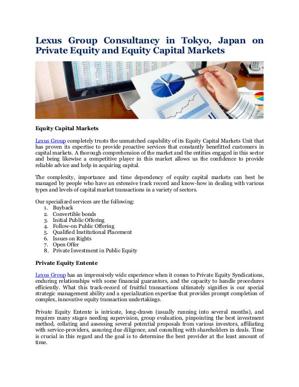 Lexus Group Consultancy in Tokyo, Japan Private Equity and Equity Capital Markets