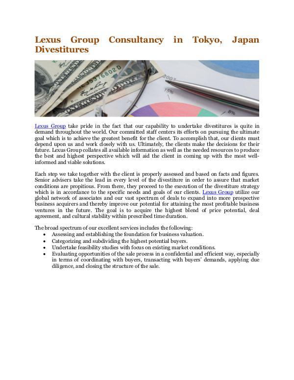 Lexus Group Consultancy in Tokyo, Japan Divestitures