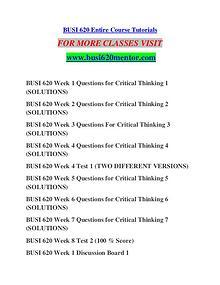 BUSI 620 MENTOR Learn Do Live /busi620mentor.com