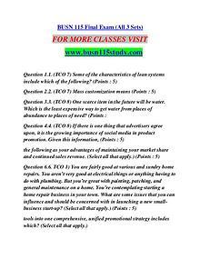 BUSN 115 STUDY Learn Do Live /busn115study.com