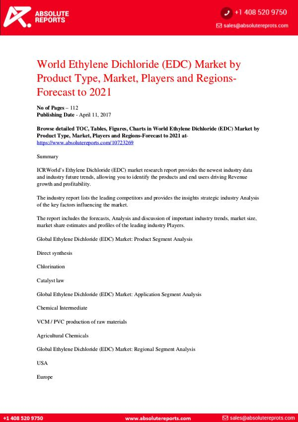 Absolute Reports World Ethylene Dichloride EDC Market-by-Product-Ty