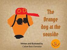 The orange dog at the seaside