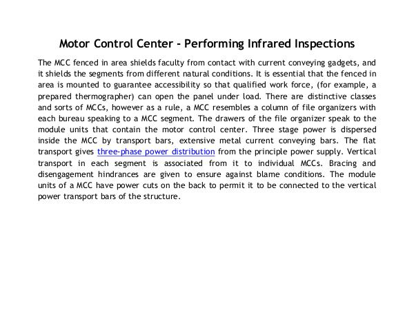 Motor Control Center - Performing Infrared Inspections Motor Control Center - Performing Infrared Inspect