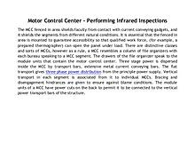 Motor Control Center - Performing Infrared Inspections
