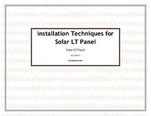 Installation Techniques for Solar LT Panel