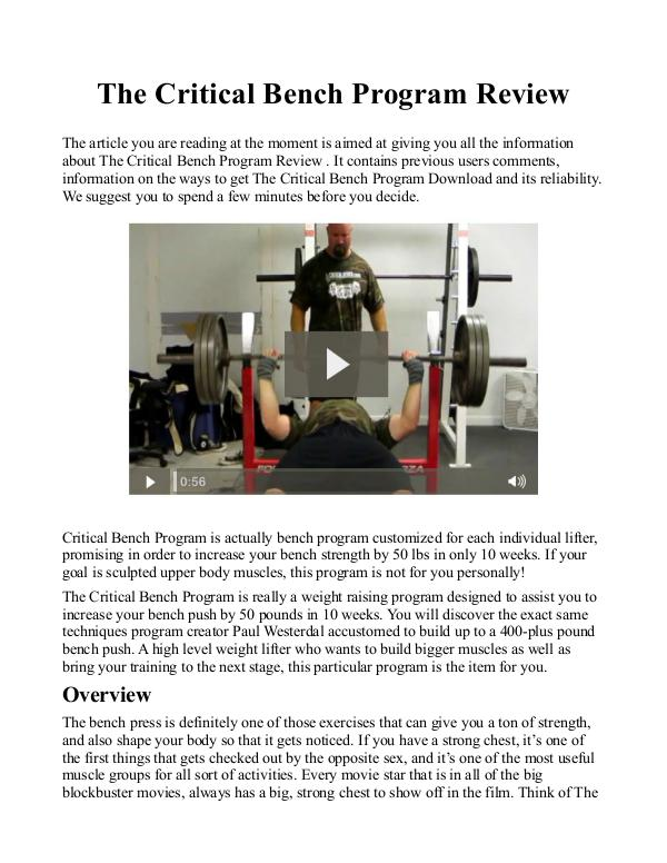 The Critical Bench Program 2.0 PDF / eBook Is Mike Westerdal's Book Free Download?