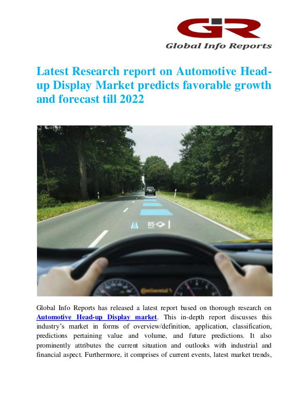 Global Info Research- market Research Reports Automotive Head-up Display Market