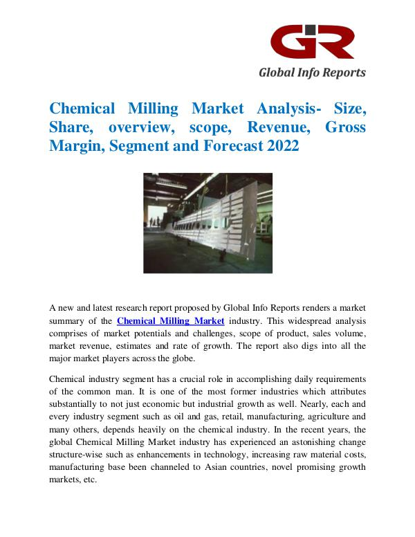 Global Info Research- market Research Reports Global Chemical Milling Market