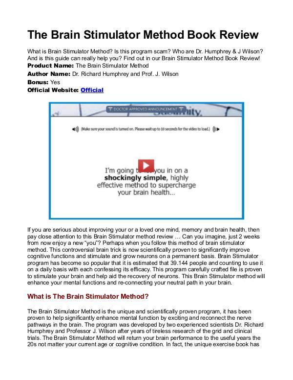 Brain Stimulator method PDF / Guide Is Dr Richard Humphrey Book Free Download?