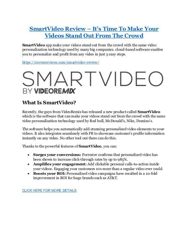 Marketing SmartVideo Review-$32,400 bonus & discount