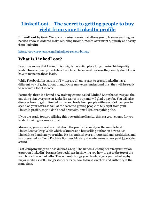 Marketing LinkedLoot review - LinkedLoot sneak peek features