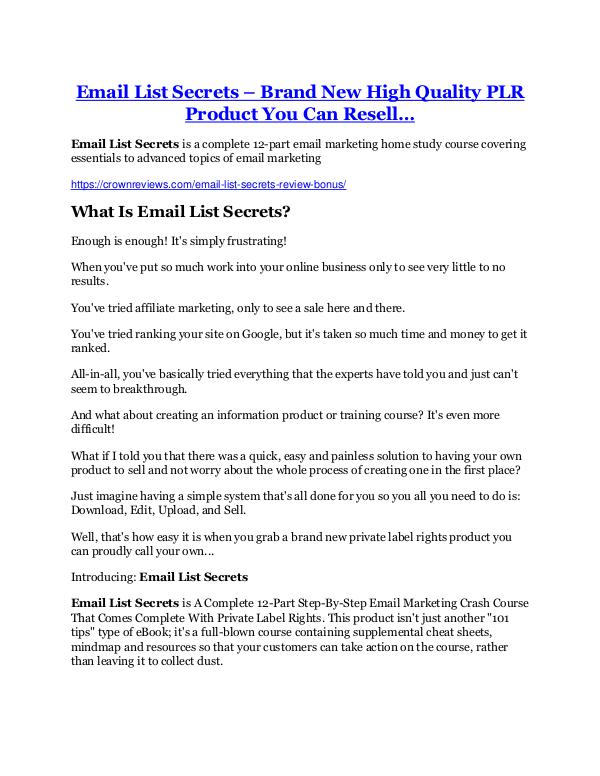 Marketing Email List Secrets Review & GIANT Bonus