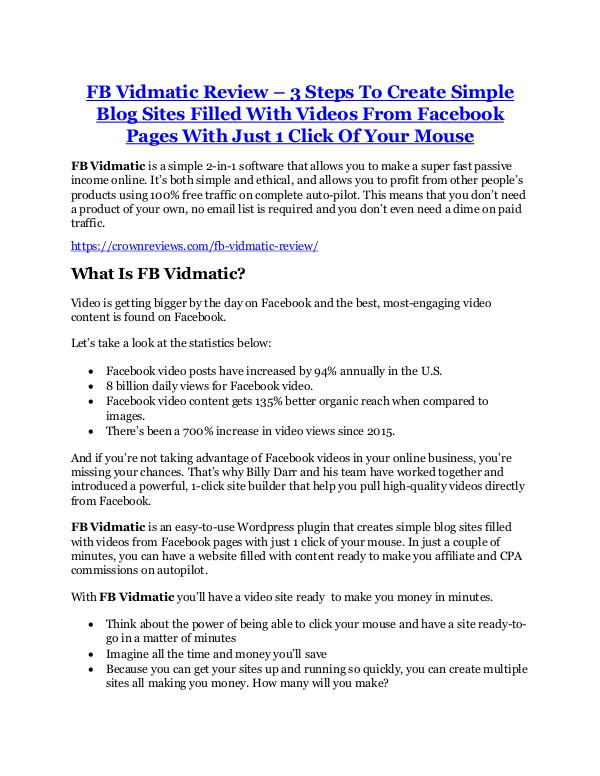 Marketing FB Vidmatic Review and (MASSIVE) $23,800 BONUSES
