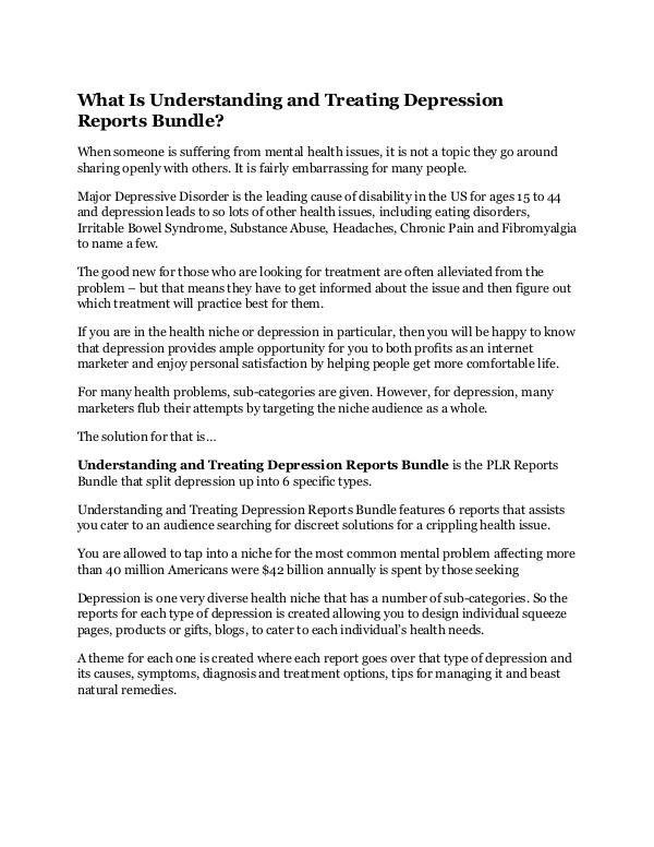 Understanding and Treating Depression Reports Bund