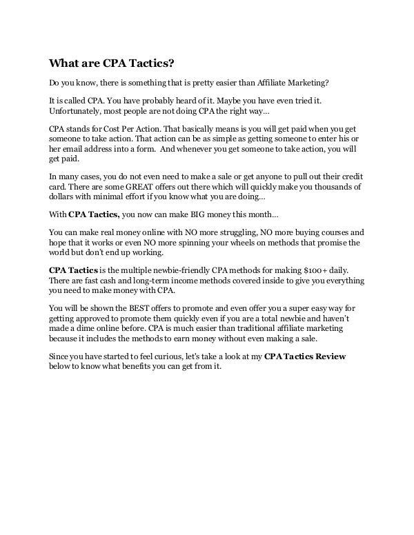CPA Tactics review and CPA Tactics $11800 Bonus &