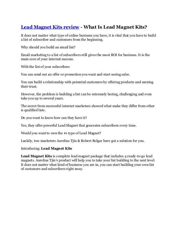 Marketing Lead Magnet Kits Review - $32,400 bonus & discount