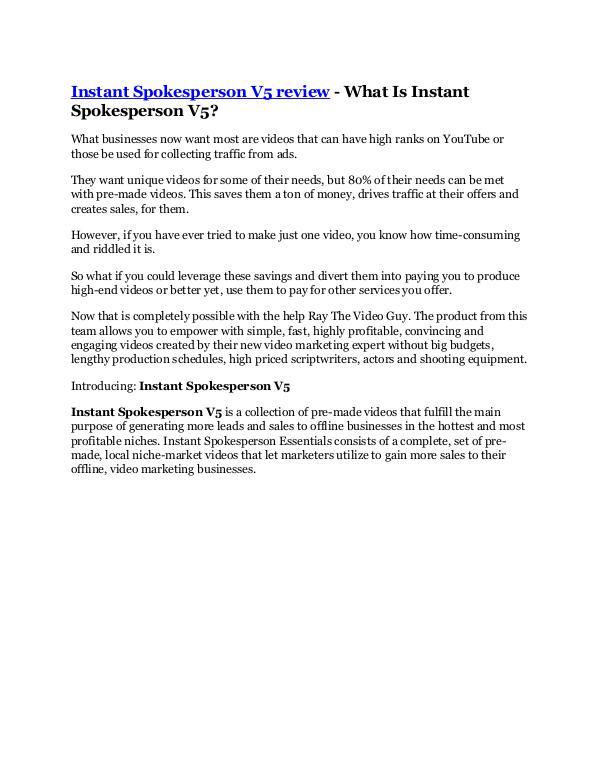 Instant Spokesperson V5 Reviews and Bonuses - Inst