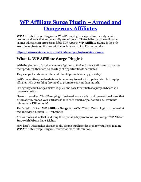 Marketing WP Affiliate Surge Plugin review and $26,900 bonus
