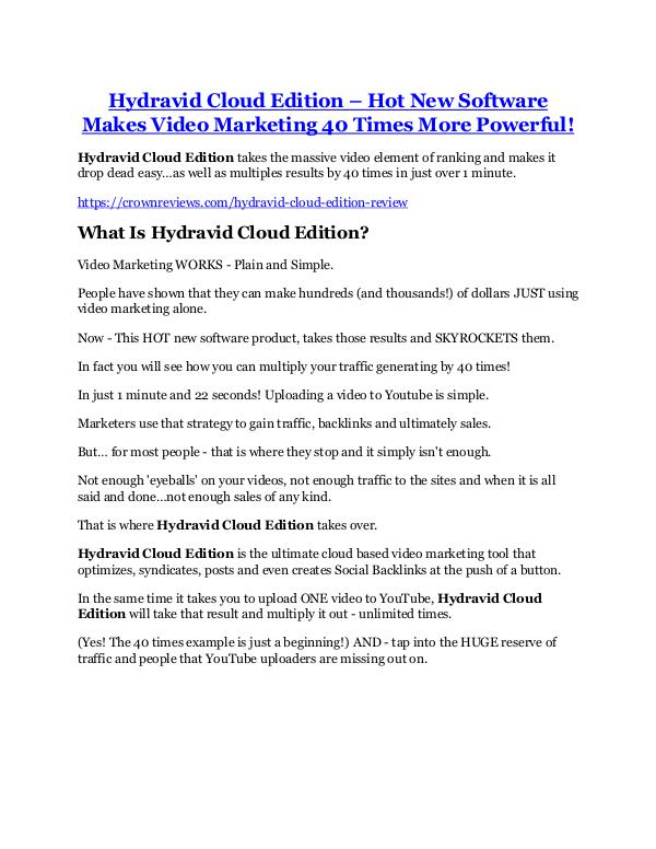 Marketing Hydravid Cloud Edition Review and (Free) GIANT $14