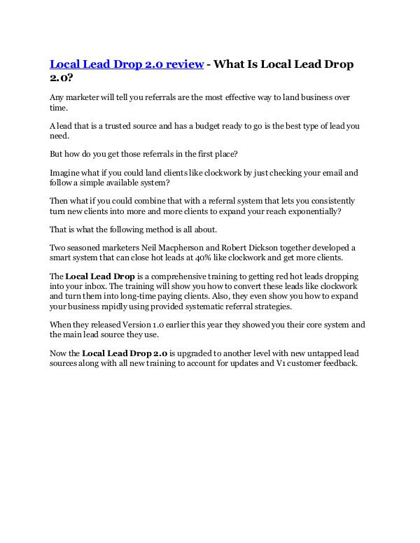 Marketing Local Lead Drop 2.0 Review-(Free) bonus and discou