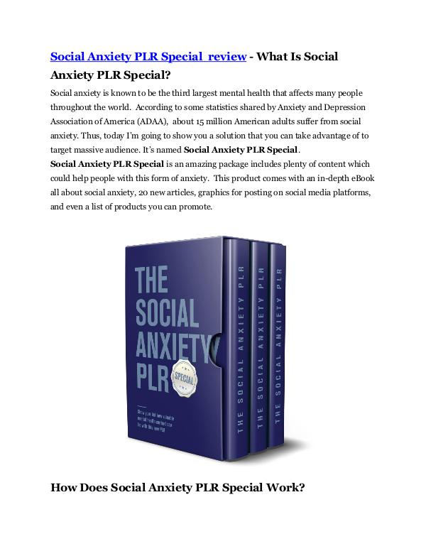 Social Anxiety PLR Special review - EXCLUSIVE bonu