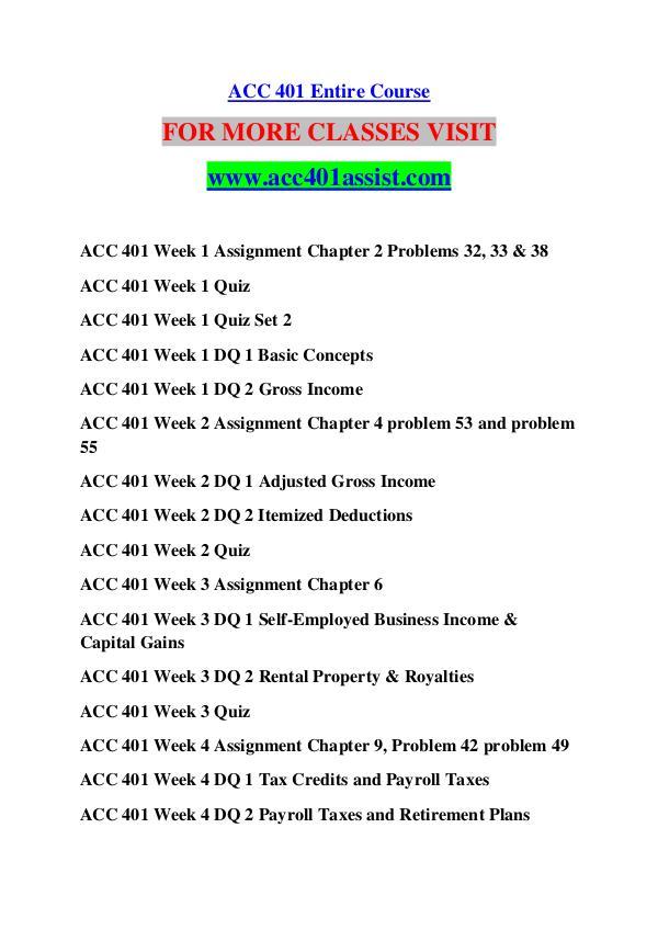 ACC 401 ASSIST Great Stories /acc401assist.com ACC 401 ASSIST Great Stories /acc401assist.com