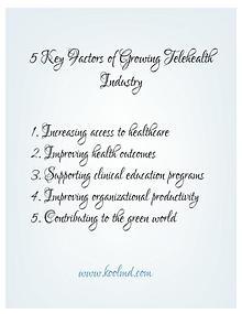 5 Key Factors of Growing Telehealth Industry