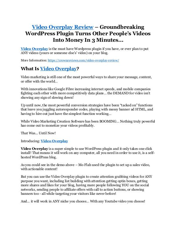 Video Overplay Review - SECRET of Video Overplay Video Overplay review- Video Overplay (MEGA) $21,4