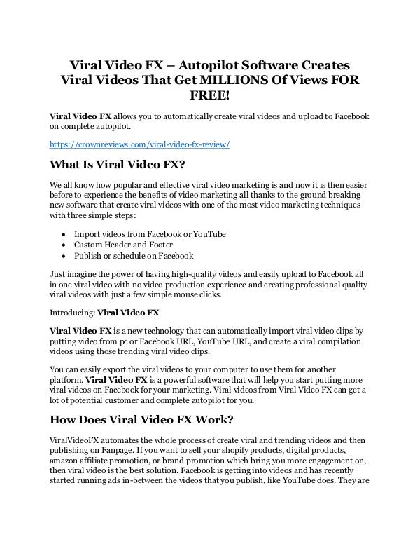 Viral Video FX review & Viral Video FX (Free) $26,700 bonuses Viral Video FX Review and $30000 Bonus - Viral Vid