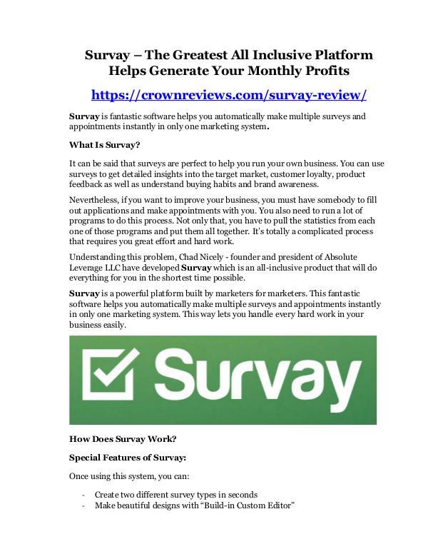 Survay review-(MEGA) $23,500 bonus of Survay Survay review and MEGA $38,000 Bonus - 80% Discoun