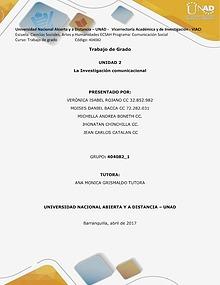 Trabajo de Grado -La Investigación comunicacional