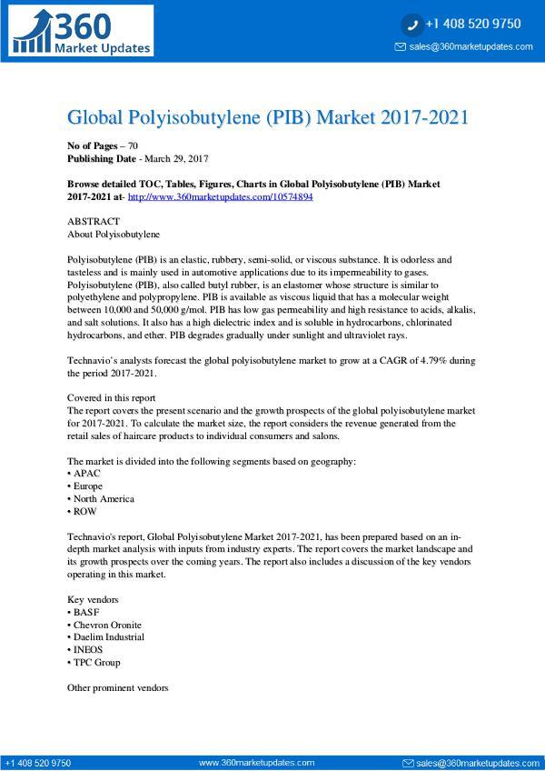 Polyisobutylene (PIB) Market Polyisobutylene-PIB-Market-2017-2021