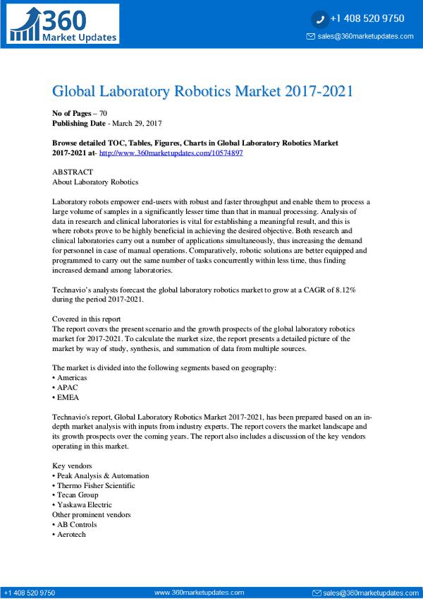 Report- Laboratory-Robotics-Market-2017-2021