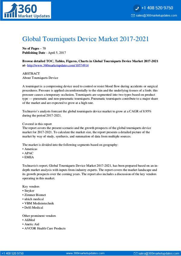 Tourniquets Device Market 2017-2021