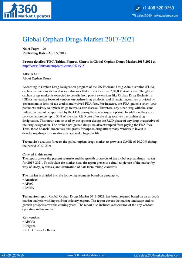 Orphan Drugs Market 2017-2021