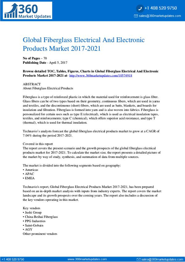 Fiberglass Electrical Products Market