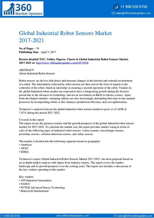 Industrial Robot Sensors Market 2017-2021