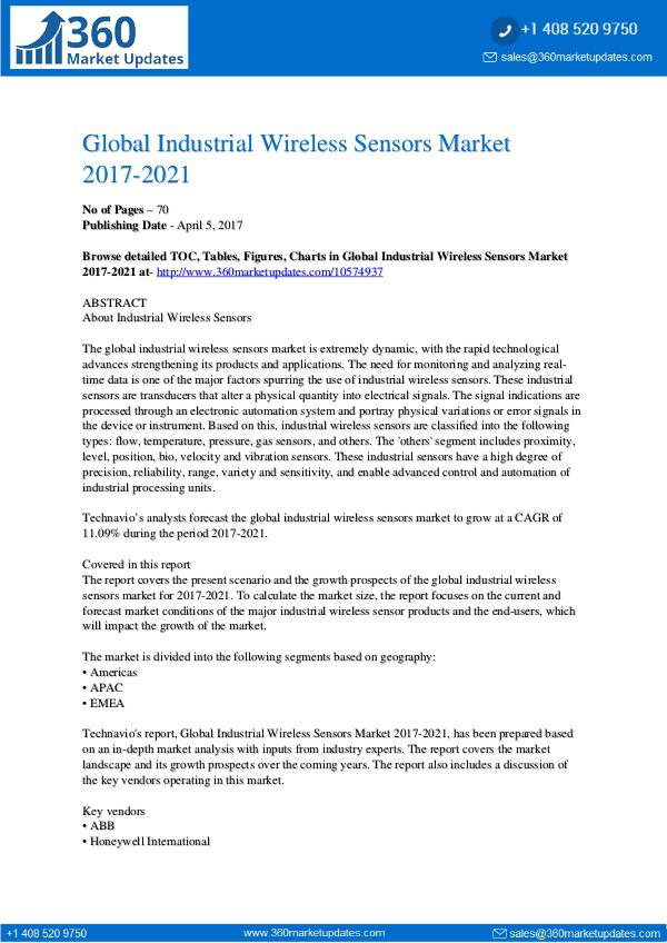 Industrial Wireless Sensors Market 2017-2021
