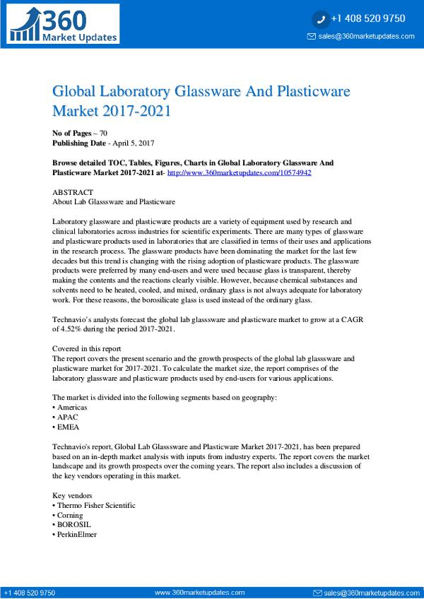Lab Glasssware and Plasticware market 2017-2021