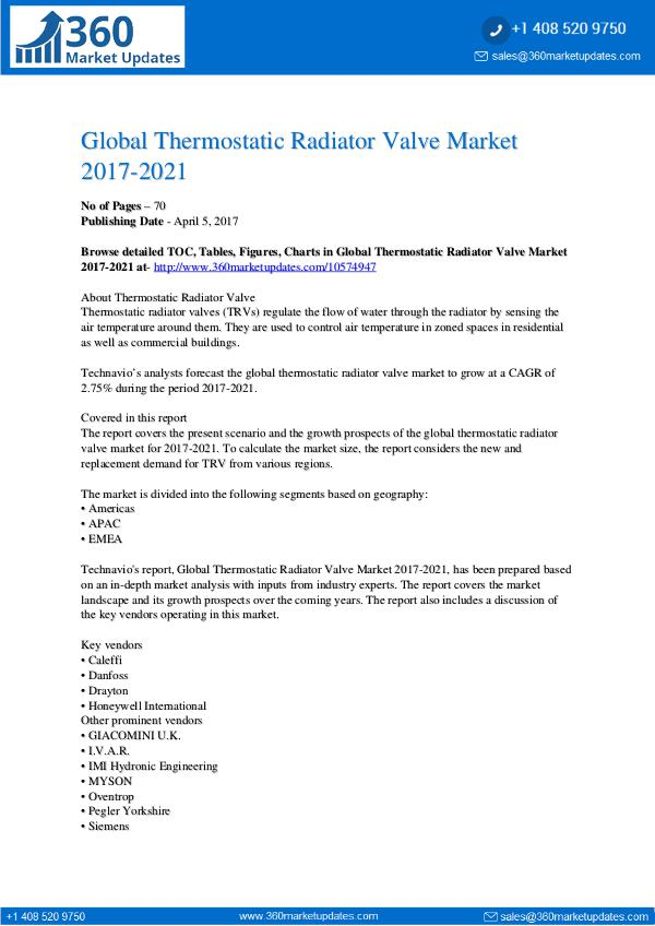 Report- Thermostatic Radiator Valve Market 2017-2021