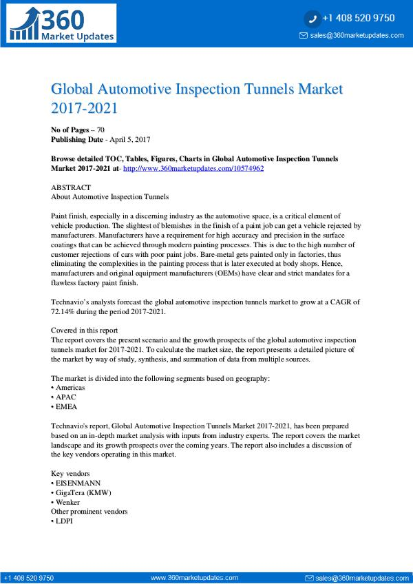 Report- Automotive Inspection Tunnels Market 2017-2021