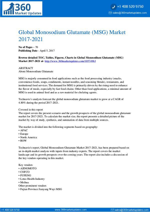 Report- Monosodium Glutamate (MSG) Market 2017-2021