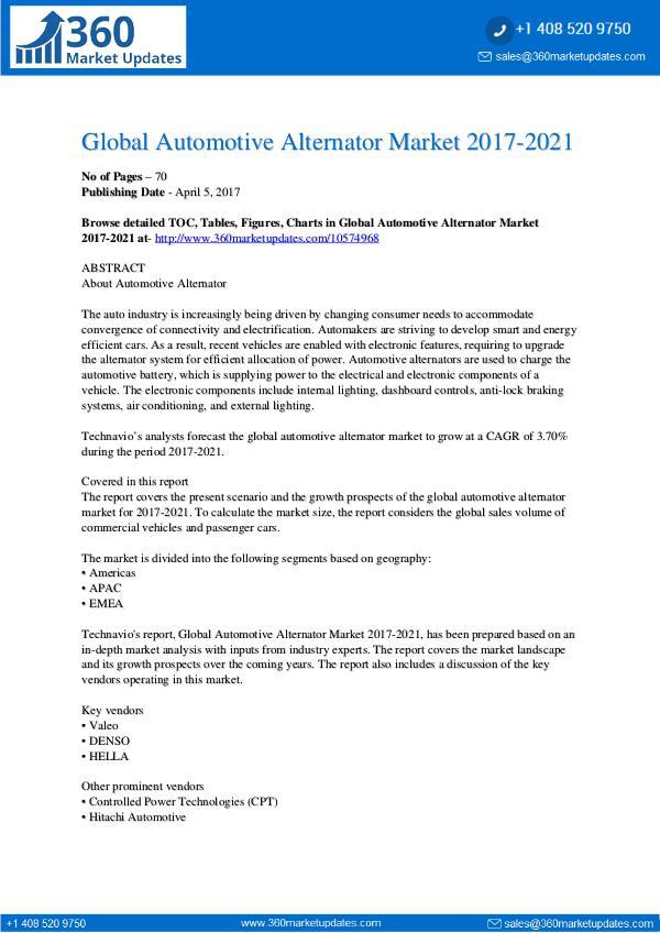 Automotive Alternator Market 2017-2021