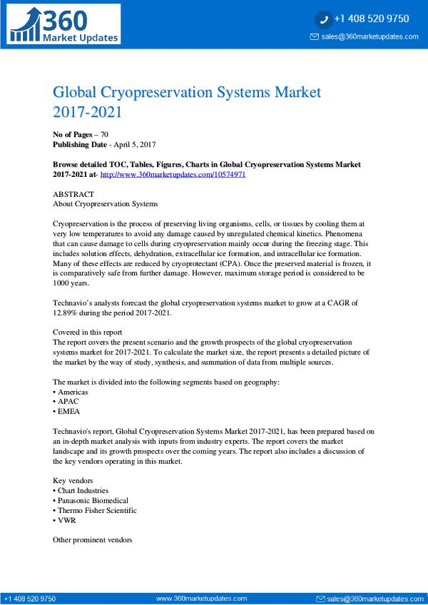 Report- Cryopreservation Systems Market 2017-2021