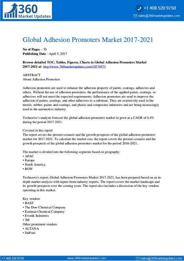 Adhesion Promoters Market 2017-2021