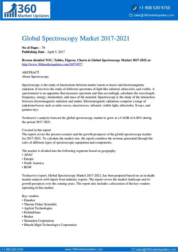 Spectroscopy Market 2017-2021