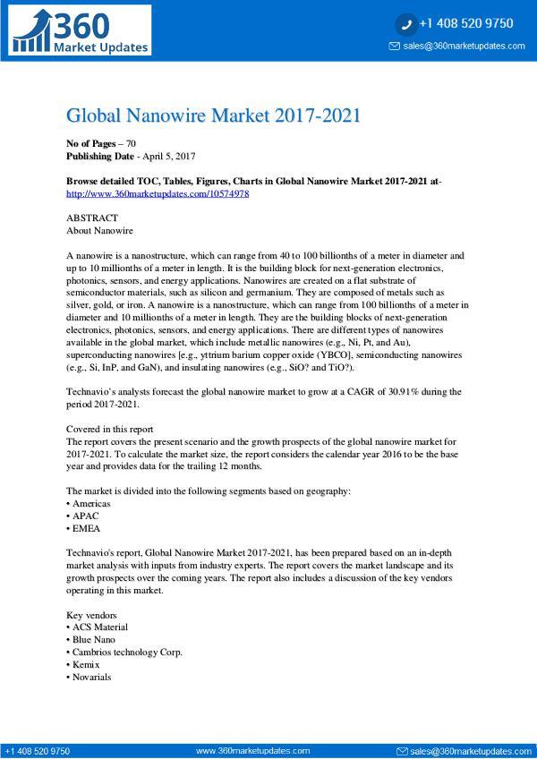 Nanowire Market 2017-2021